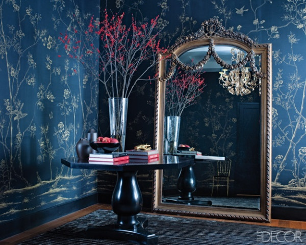 The glam pad blue de gournay and gracie wallpapered - Blue wallpaper living room ...