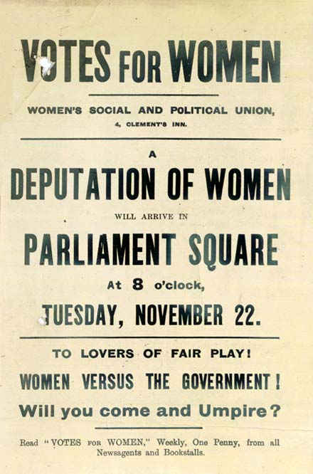 Of an advertisement of a rally for women s right to vote in london
