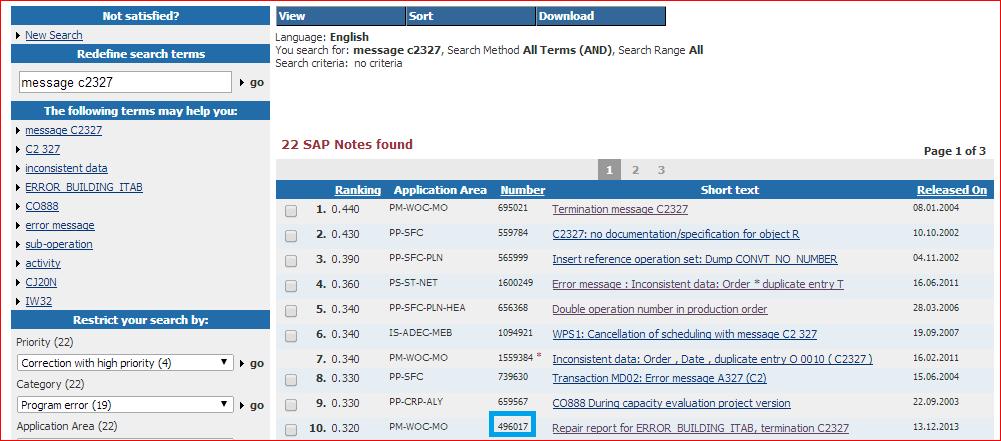 Notas en el SAP Support Portal