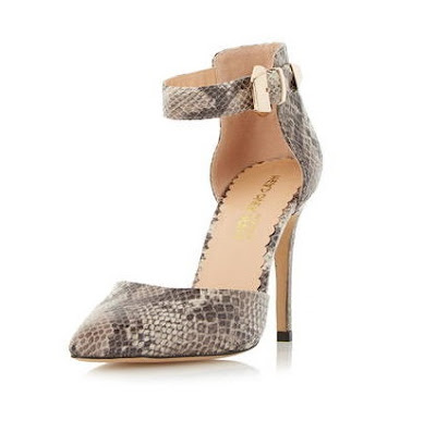 Head Over Heels Snakeskin ankle strap pumps