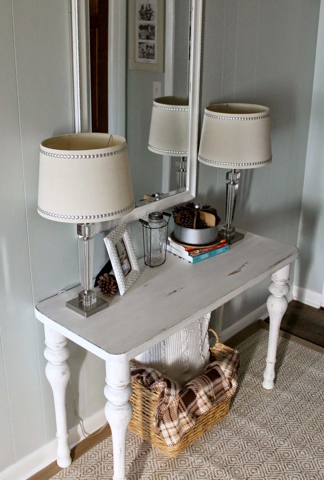 white foyer table. Speaking Of Cold Weather, I Had To Make A Curtain Update As Well. It Turns Out Sheer White Curtains Are Not The Best At Keeping When You Have Foyer Table
