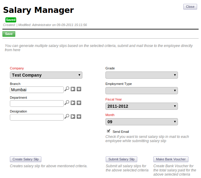 ERPNext User Manual How to Generate Salary Slips in ERPNext – Salary Slip
