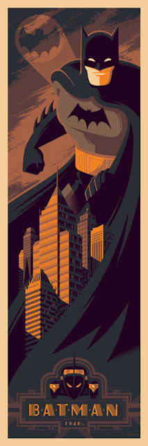 Batman (1940s) DC Comics Screen Print by Tom Whalen