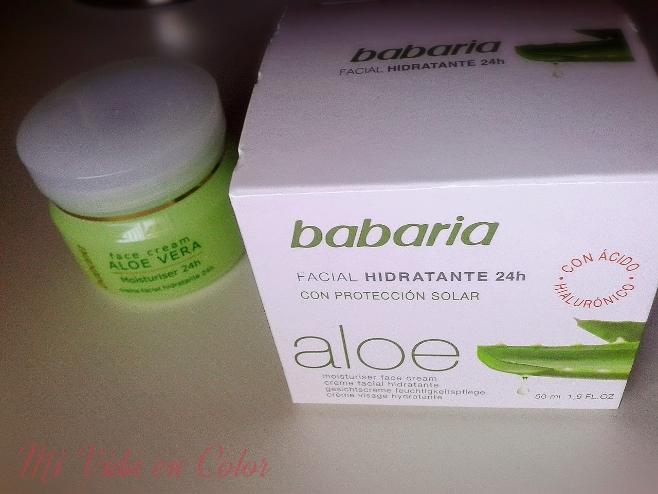 hidrante facial, babaria, review, reseña, mi vida en  color, aloe vera