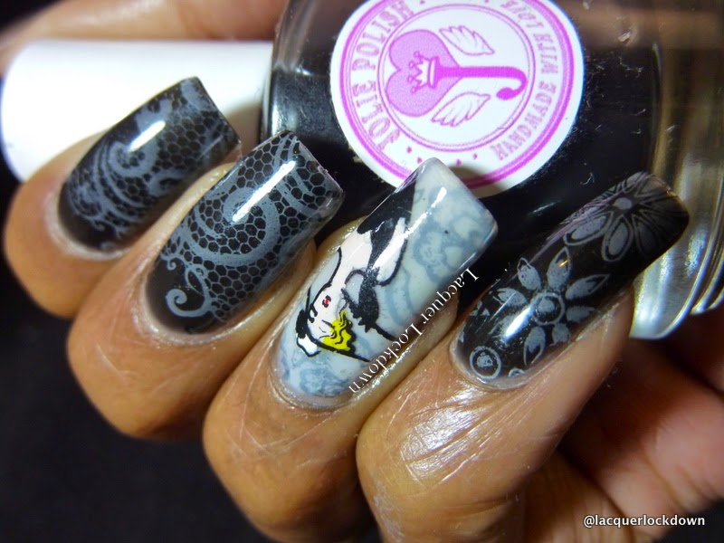Lacquer Lockdown - Jolie Polish, Jolie Polish White Crelly, Jolie Polish Black Crelly, Mundo de Unas stamping polish, Marianne Nails, Marianne Nails 18, MN18, Marianne Nails 27, MN 27, nail art stamping blog, nail art stamping, lace nail art, floral nail art, jelly sandwhich, pond manicure, diy nail art, cute nail art ideas, subtle nail art, stamping