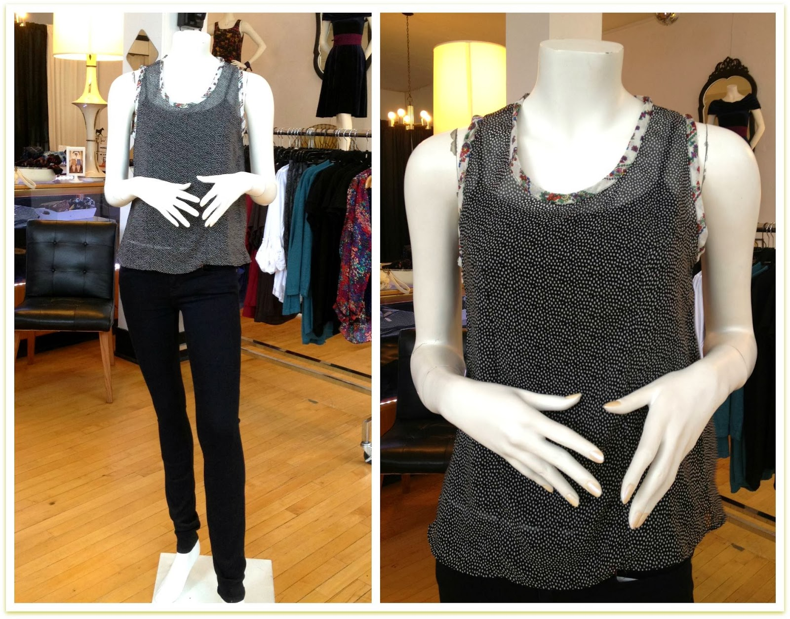 Megan silk to by Sarah Bibb and Lily denim by Level 99 at Folly
