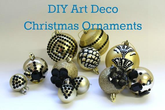 Art Deco Christmas Decorations Ornaments black \u0026 gold