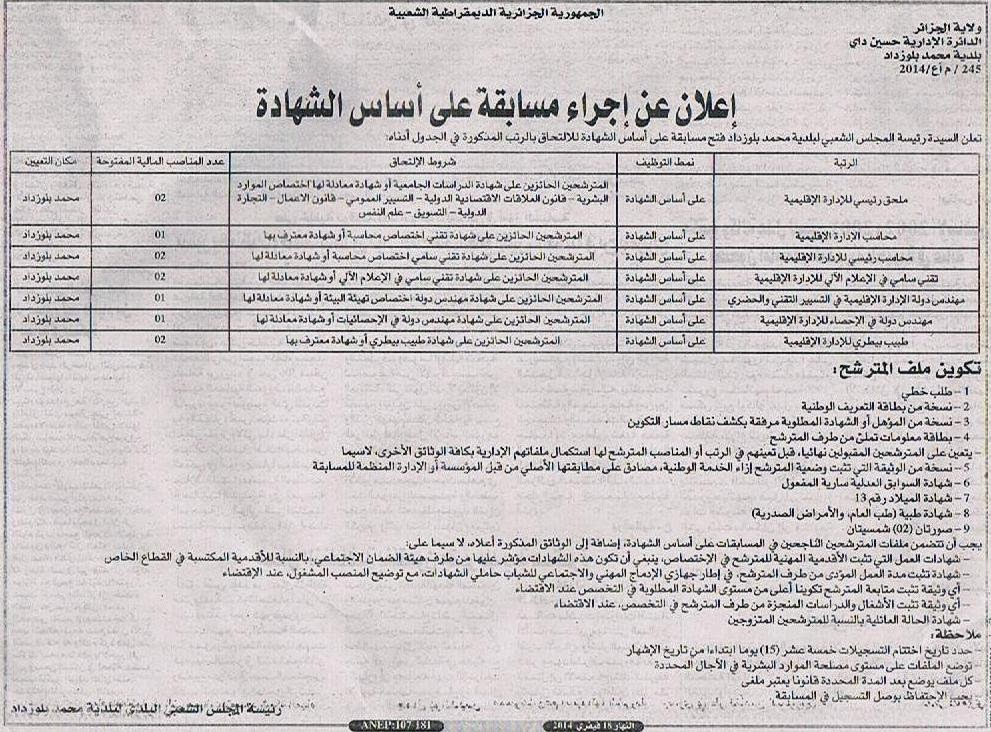 توظيف ببلدية محمد بلوزداد