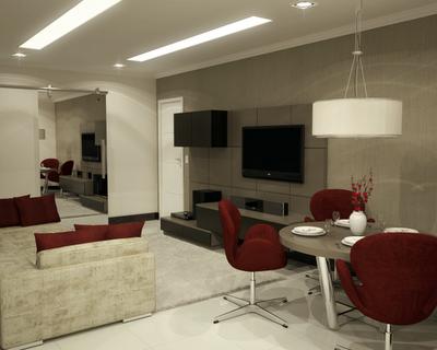 Sala de estar e sala de jantar com decoração minimalista