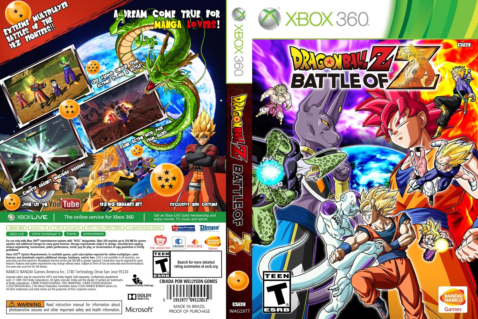 Capa Dragon Ball Z - Battle Of Z XBOX 360