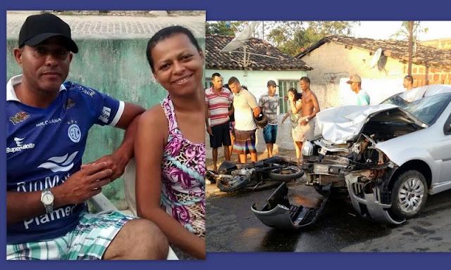 Casal morre em São Cristóvão após colisão frontal entre carro e moto