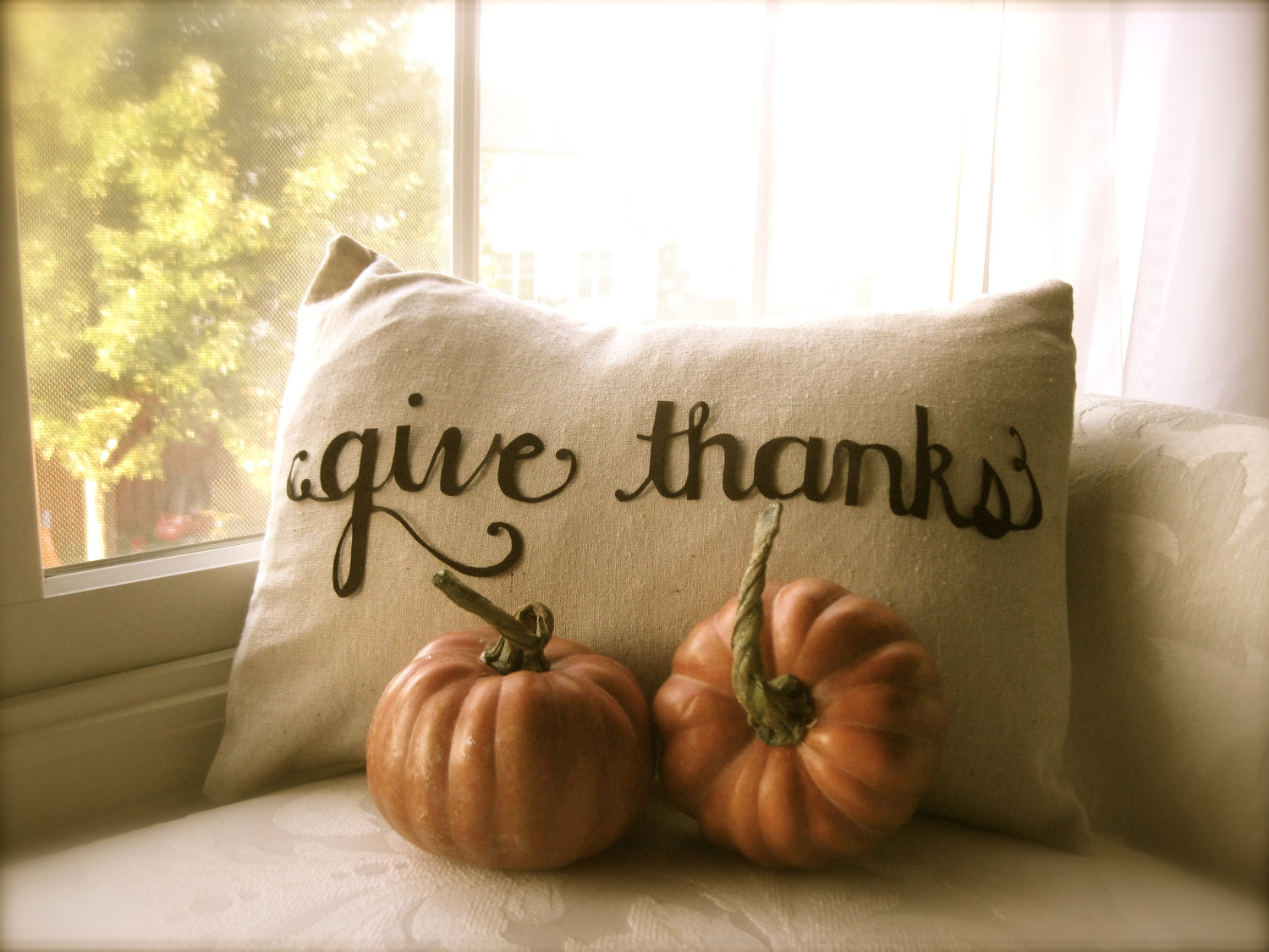 Give Thanks scripted Thanksgiving pillow cover in linen by The Lauren ...