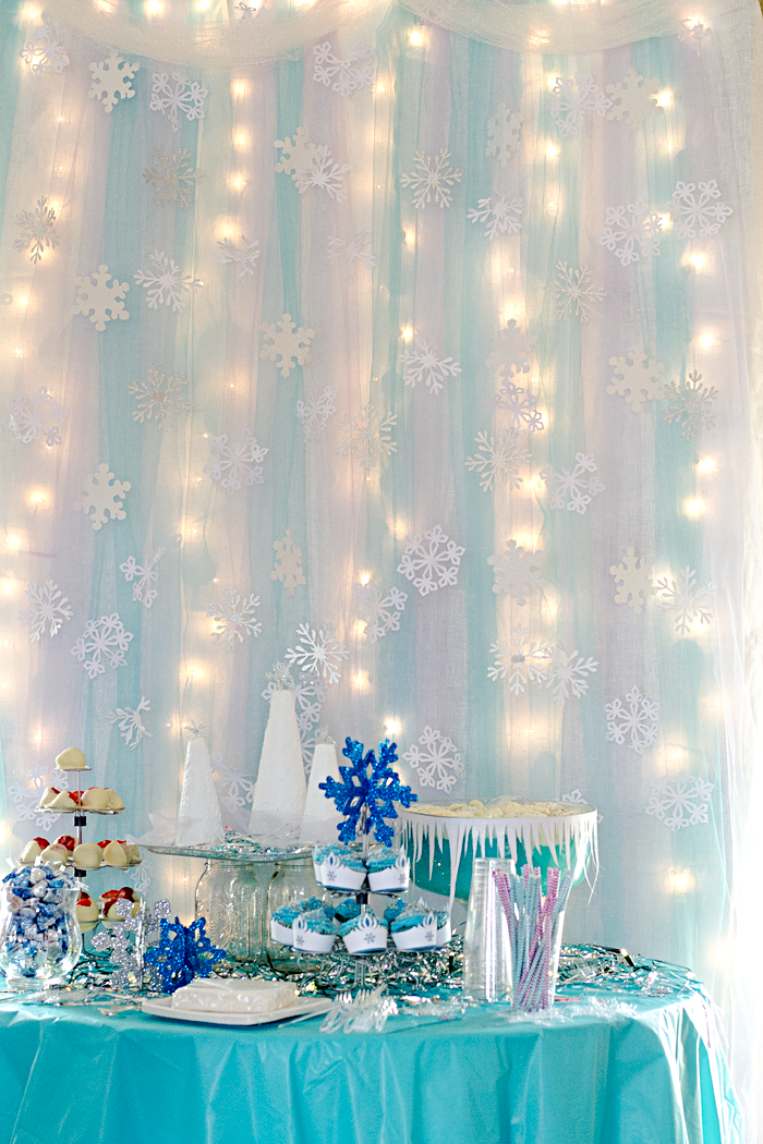 Disney Frozen® inspired birthday party decorations - homemade backdrop