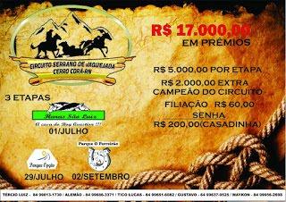 Vem ai o Circuito Serrano de Vaquejada em Cerro Cora/RN