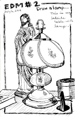 EDM 2 - My Lamp on My Bedside Table, Pen and Ink by Ana Tirolese ©2012
