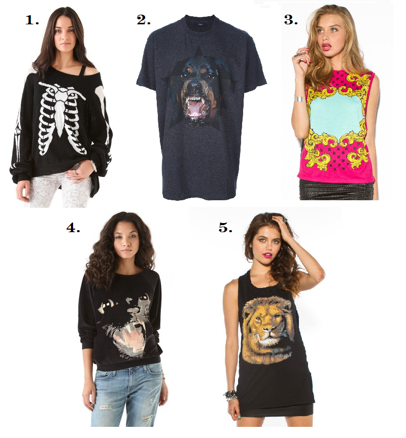 collage, fashion, graphic t-shirt trend, trend, Fairground, Givenchy, Wildfox, Somedays