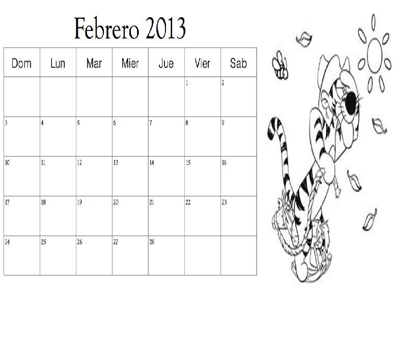 Dibujo del mes de Febrero 2013 para colorear ~ Colorea el dibujos