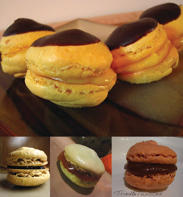 Boston Cream Pie, Fig and Chocolate Ganache, Apricot Jam, and Apple Butter French Macaron from Tried & Twisted blogspot