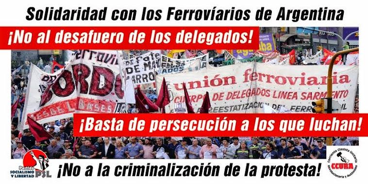 Solidadridad con los Ferroviarios de Argentina