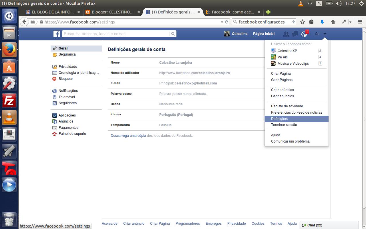 Screenshot do Menu Definições do Facebook
