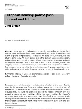 European banking policy: past. present  and future