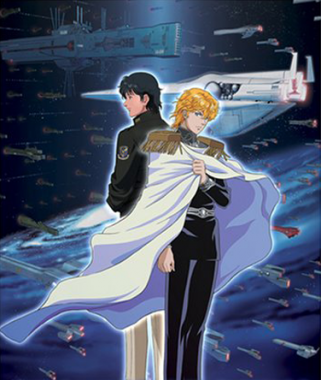 A poster for the show focusing on Yang and Reinheart with their fleets in the background.
