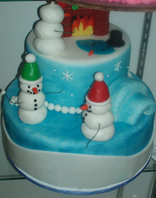 Snowmen and snow scene cake