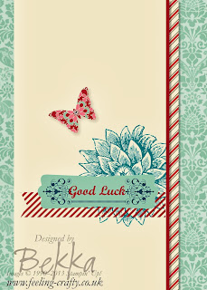 Download a free trial of the software used to make this Good Luck card here.  Created with My Digital Studio (MDS) by UK Stampin' Up! Demonstrator Bekka Prideaux