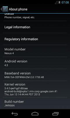 La filtración se ha producido según parece a través de un usuario que compró un Nexus 4 a un empleado de Google. Y ese smartphone ya tenía instalada la nueva versión de Android, que eso sí, no parece traer mejoras especialmente significativas. Pero cabe de resaltar que el desarrollo de esta actualización se filtro primero como una copia de seguridad o sea como un Backup, pero ya se puede instalar gracias a que ha sido compilada en formato .zip (Deodexed). Novedades de Android 4.3 para el Nexus 4 1. Nuevo teclado emoji 2. Autocompletar en el marcador 3. Actualizada la