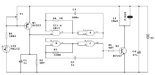 Simple Light Alarm Schematic | Circuit Schematic learn