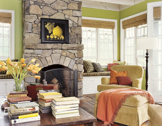 Green Living Room With Stone