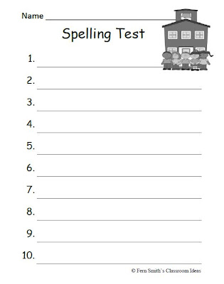 Fern Smith's FREE Year Round Blank Spelling Test Sheets For Both 10 or 15 Words