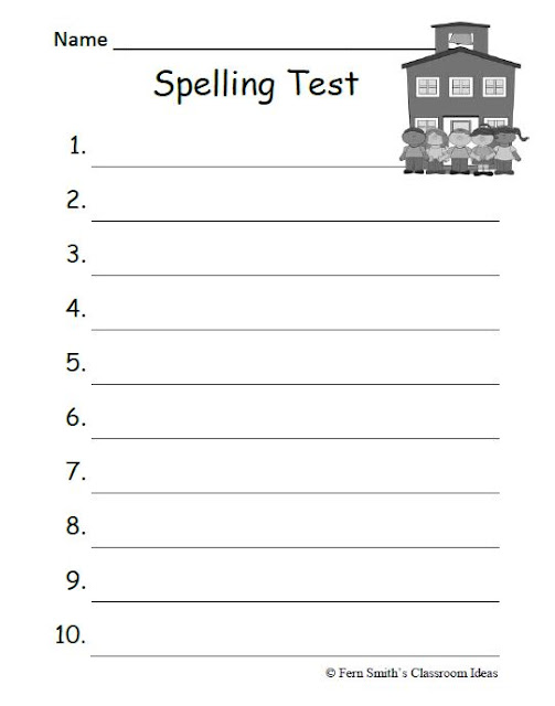 Fern Smith's Classroom Ideas FREE 10 and 15 Lined BlanK Year Round Spelling Test Printable!