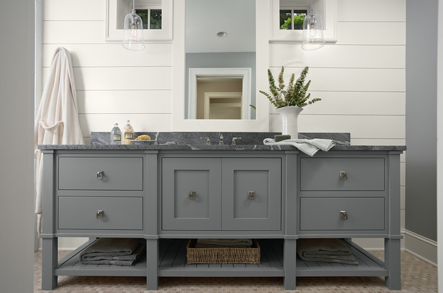 Soapstone Vanity Ccountertop On Beautiful Free Standing Cabinet