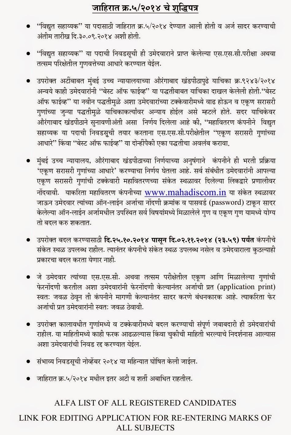 Mahadiscom Vidyut Sahayak Recruitment 2014 Edit Link, Enter SSC Marks Details & Editing Procedure in Marathi