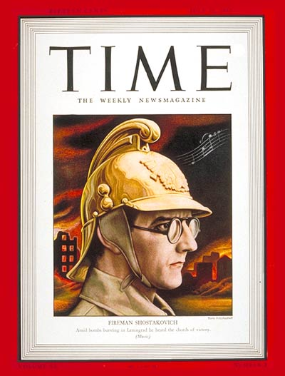 cover of Time Magainze from July 1942 showing Dmitri Shostakovich