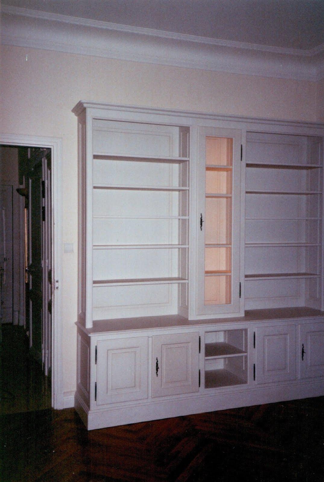 menuiserie vanin biblioth que avec clairage et meuble bas. Black Bedroom Furniture Sets. Home Design Ideas