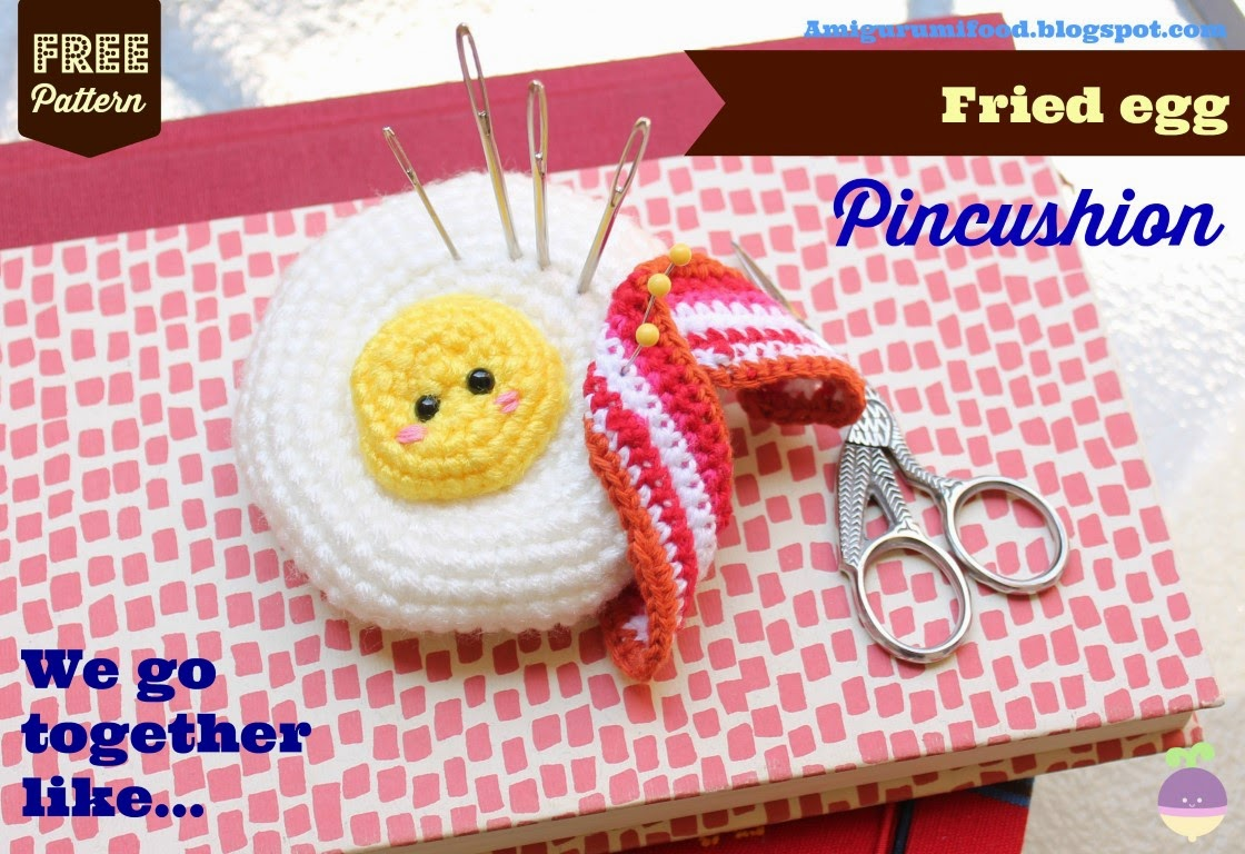 Amigurumi Food: Free pattern Fried egg Pincushion Amigurumi