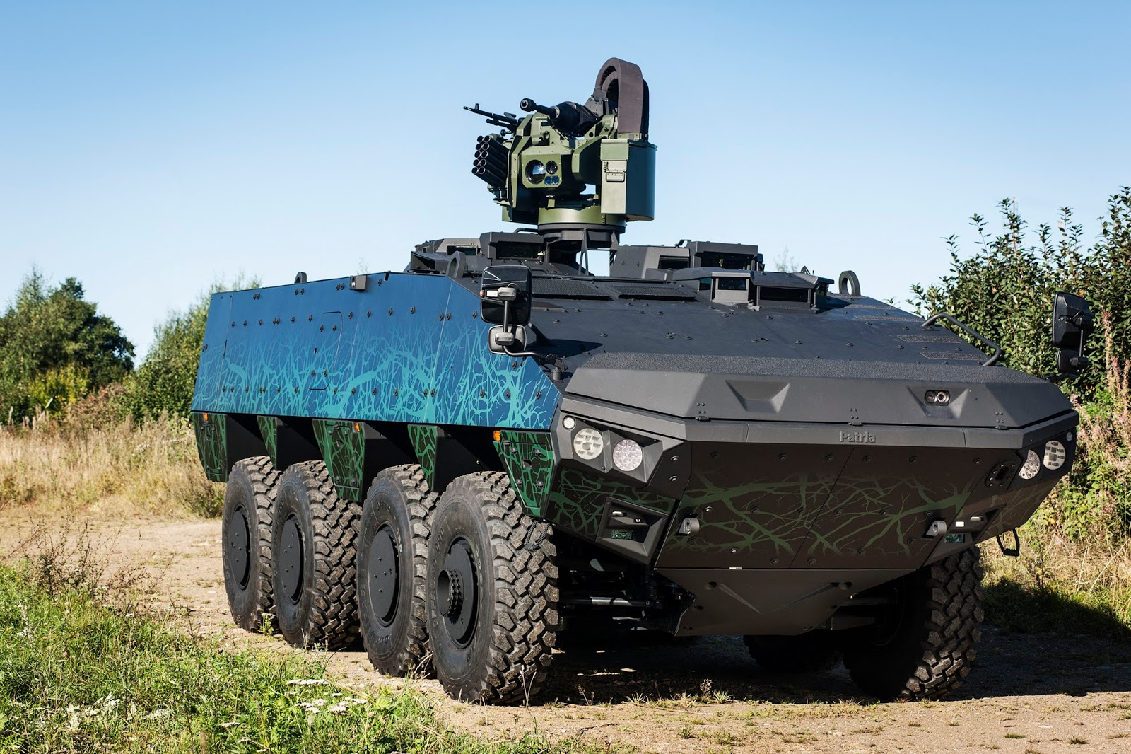 Novo veículo conceito do Armoured Modular Vehicle (AMV) Patria