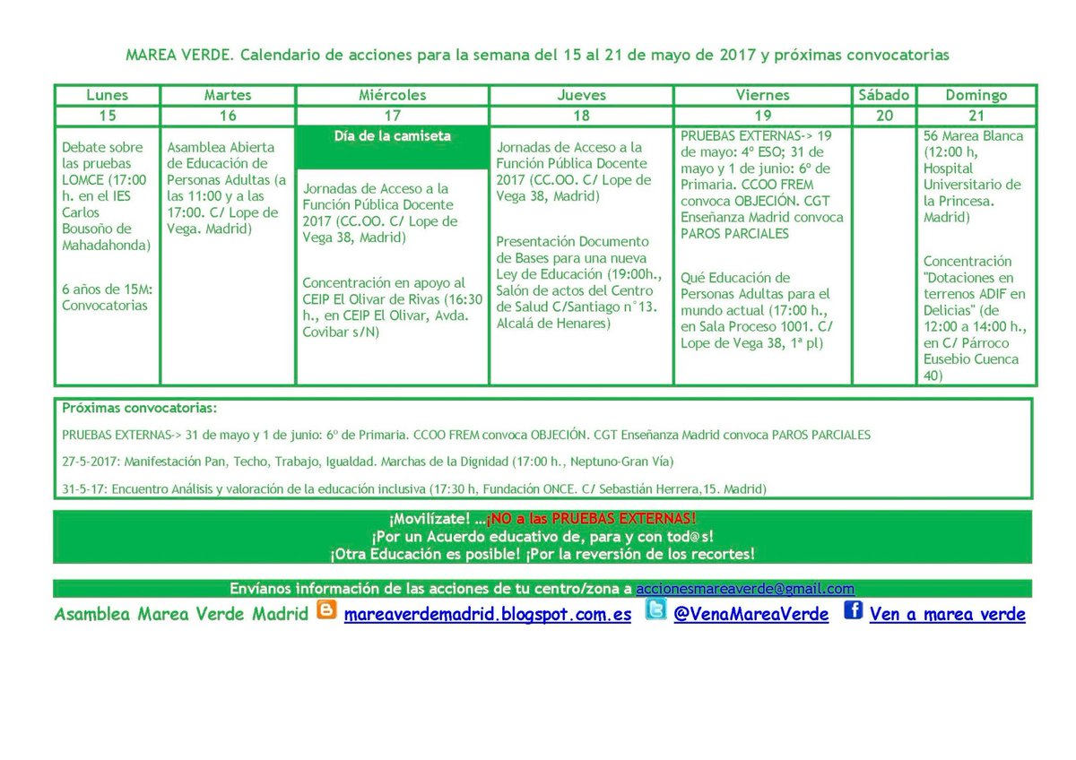22 al 26 de mayo Enseñanaza Pública