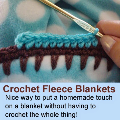 Nice way to put a homemade touch on a blanket without having to crochet the whole thing!
