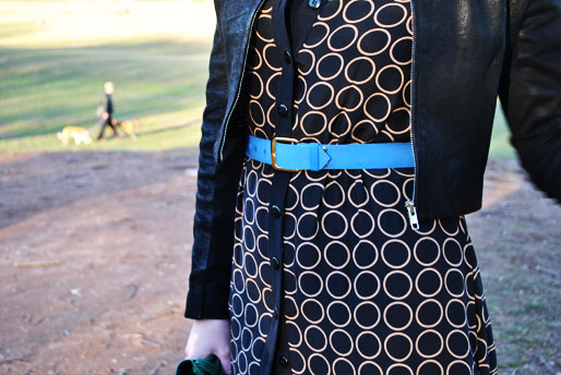 a style of your own blog, green leather gloves, TJ Maxx handbag, thrifted, H&M, blue belt