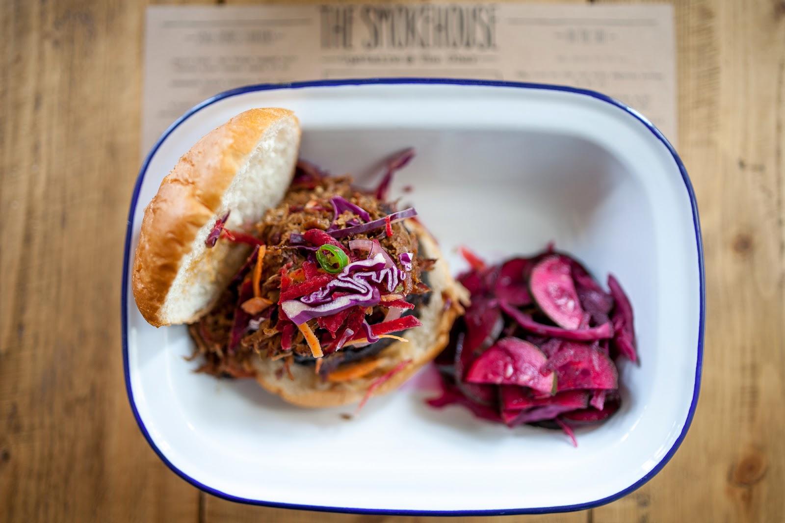 pulled pork burger smokehouse food