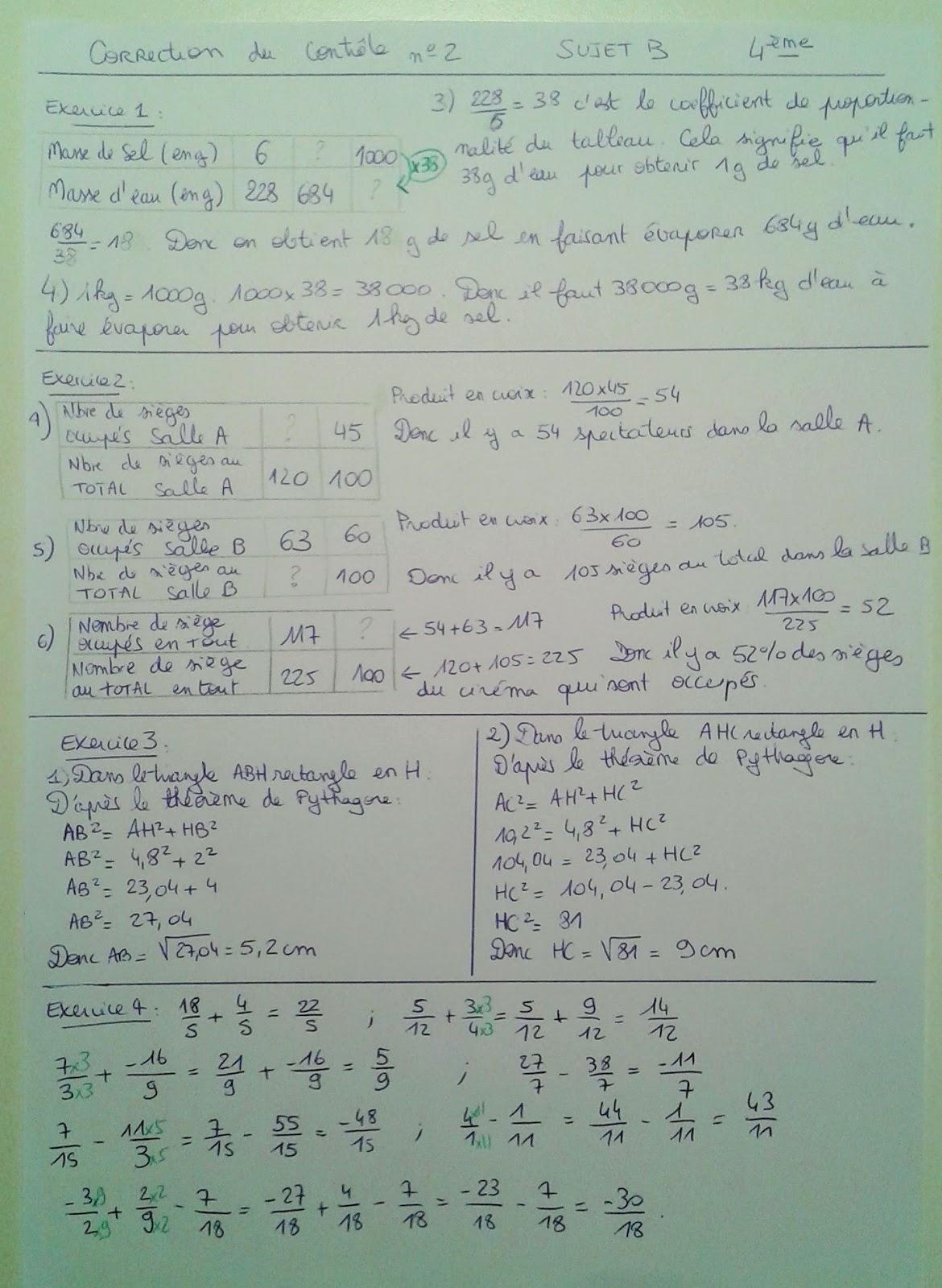 correction exercice de math 4eme