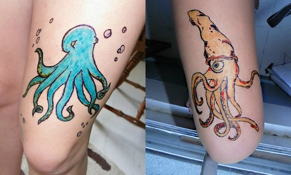 Squid and Octopus by XxXWerwolf-Girl