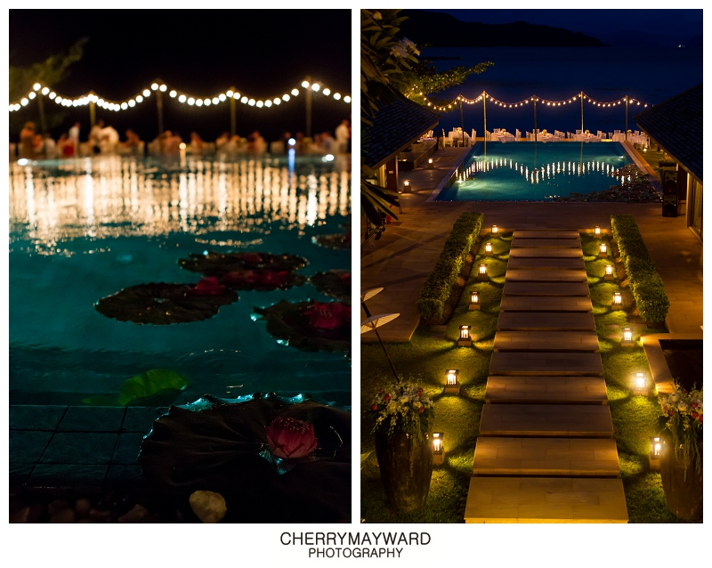 Dinner reception decorations, pool and villa at night, beautiful lighting and decorations by Partners samui wedding planners