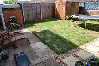 Family garden before expert landscaping