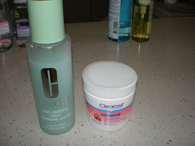 Toners: Clinique clarifying lotion and Clearasil Superfruits Refreshing Pads