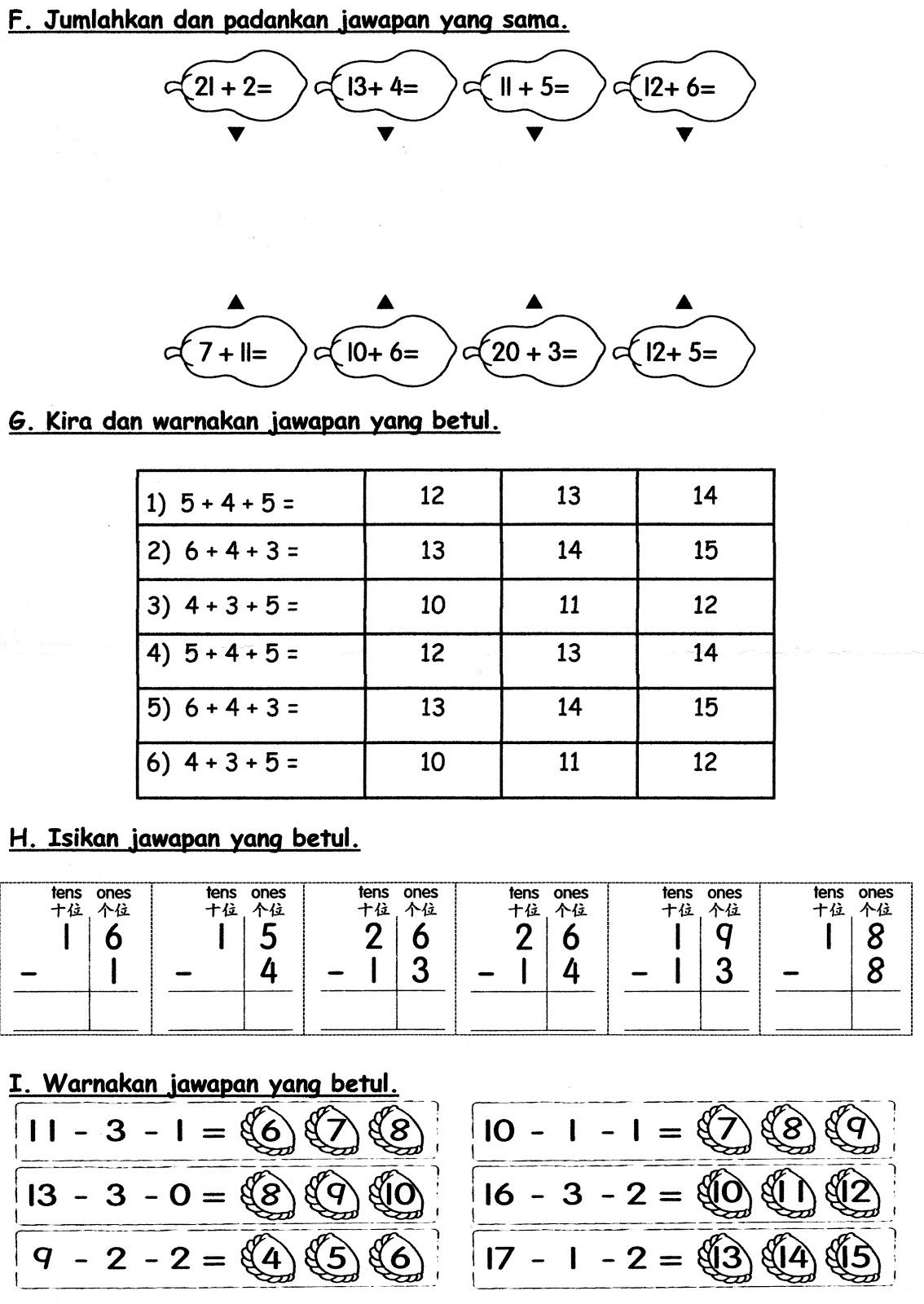 Contoh Soalan Matematik Umur 6 Tahun Soalan Bs