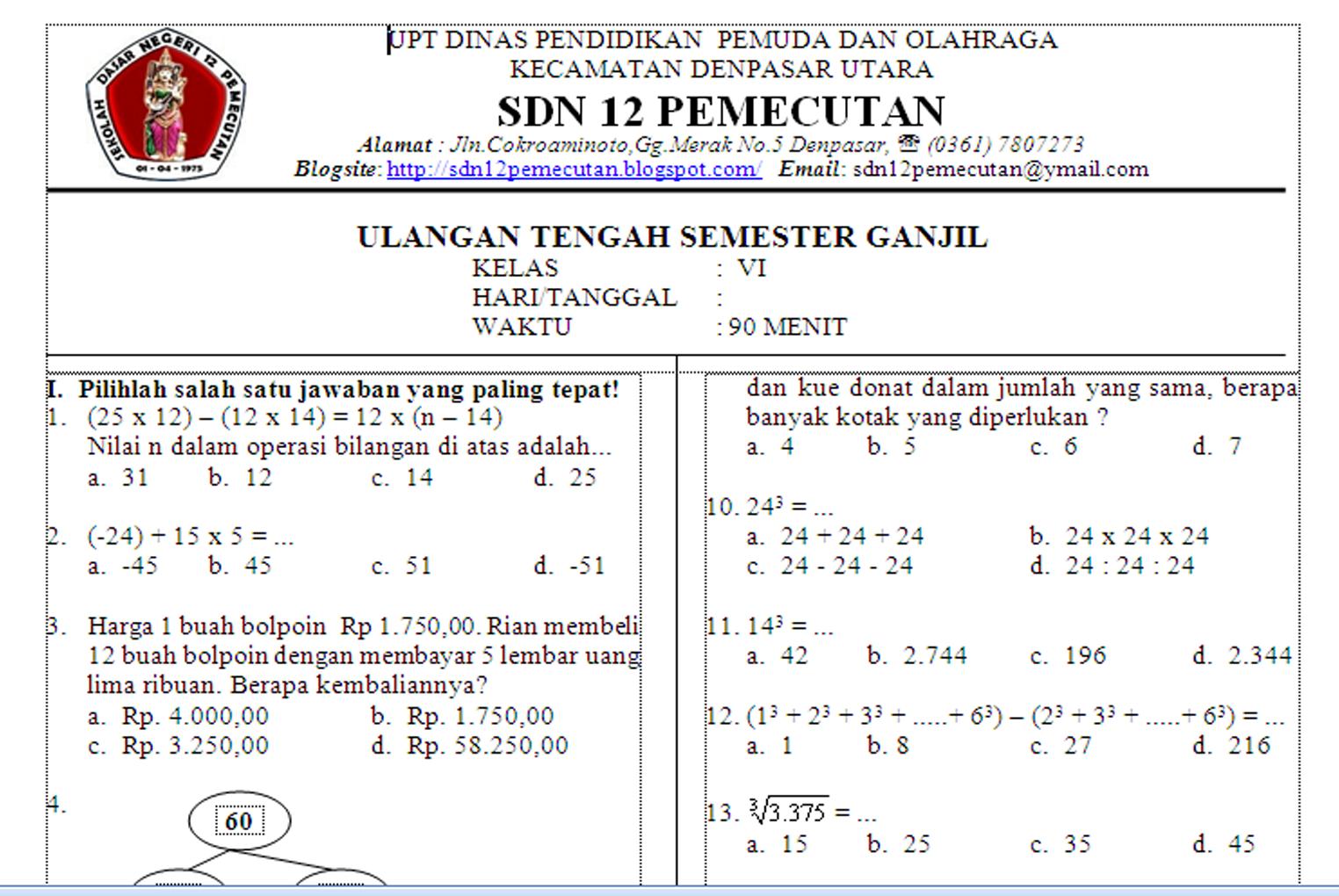 Mudiartana Made Ulangan Tengah Semester Uts Matematika Sd Kelas 6